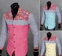 2014 New Brand Fashion Men's  Print Floral Spliced Shirt Full Sleeve Single  Casual Shirts M-XXL 3 Colors Free shipping