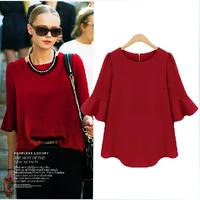 fashion Spring and Autumn 2014 the new European women's loose sleeve chiffon shirt sleeve shirt  Lotus leaf hem blouses