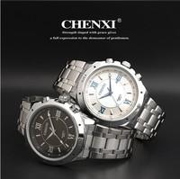 2014 Men Full Steel Sports Watches Fashion Roma Dial Analog Quartz Watch Luxury Brand Chenxi Day Date Watches Relogio Rolojes