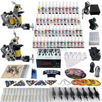 Wholesale - Complete Tattoo Kit 2 Pro Rotary Machine Guns 54 Inks Power Supply Needle Grips TK260