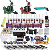 Wholesale - Complete Tattoo Kit 2 Pro Rotary Machine Guns 28 Inks Power Supply Needle Grips TK248