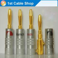 Free shipping&wholesale 10XNakamichi Speaker banana plug Audio Adapter connector 24K Gold-plated