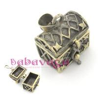 Fashion Beautiful Antique Bronze Carved Treasure Box Pendant Jewelry Necklace Accessories
