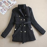 2014 Winter fashion cotton-padded jacket female medium-long double breasted cotton-padded jacket stand collar wadded jacket