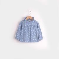Autumn new arrival 2014 children's clothing female love child bow light color thin denim skirt clothing shirt