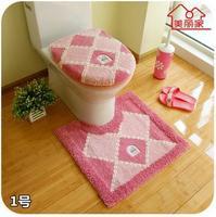 Free shipping bathroom cute flocking print soft toilet 3 piece set toilet lid cover toilet seats carpet rug mat potty pads