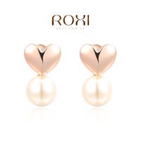 2014 crystal luxury original design loving heart zircon with pearl dangle women earrings brincos grandes jewelry freeshipping