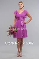 2014 New Fashion Knee length Chiffon Cap Sleeve Party Prom Dresses Bridesmaid Dresses Custom Size Free Shipping