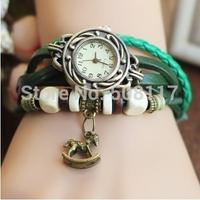 DHL free shipping to US  60pcs/lot Vintage Retro horse pendant leather wrap bracelet watches men quartz wristwatches