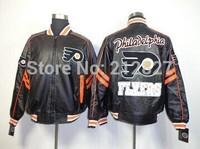 Free shipping wholesale Leather jacket Philadelphia Flyers Leather Jacket black Very good quality size M-XXL