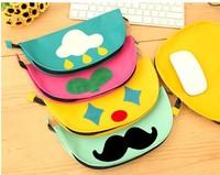 Free ship 10pcs/korean stationery kawaii Cute mustache creative storage bag  pencil bag Large capacity bag multifunctional bag
