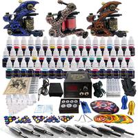 Wholesale - Complete Tattoo Kit 3 Pro Rotary Machine Guns 54 Inks Power Supply Needle Grips TK353