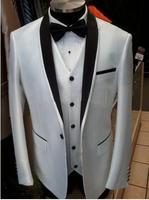 Custom Design Side Slit Black Satin Lapel One Button White Groom Tuxedos Groomsman Best man Suits (Jacket+Pants+Vest+Tie)