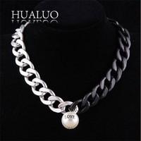 new arrival punk bohemia big zinc alloy necklace chain pearl LOVE letter necklaces&pendants women choker necklace #N1664