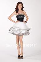 2014 New Fashion Mini Organza Beaded Black/White Party Prom Dresses Bridesmaid Dresses Custom Size Free Shipping
