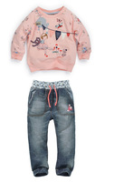 free shipping 2014 children two-piece clothing cotton t-shirt + jeans for girls kid's cartoon design baby kids suits