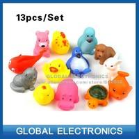 New Arrive 13pcs/Set Mixed styles Bath toy Rubber animal bath sets Bath Toys for children water games Hotsale