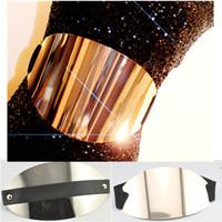 1pc/lot Women Fashion Extra Wide Metal Plate Metallic Mirror Belt Wide Ealstic Stretchable Waist Cummerbund AY870669