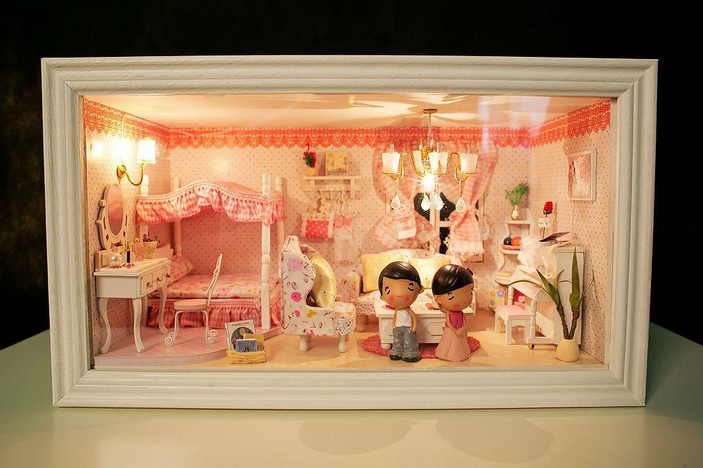 diy modelo de casa de boneca edifício 3d em miniatura sonho-de-rosa casa de bonecas de madeira brinquedo de presente de natal para meninas(China (Mainland))