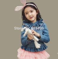 New Fashion Korean Style Ruffles Gauze Collar Girls Denim Jacket Kids Denim Outerwear Children Top Clothes Blue