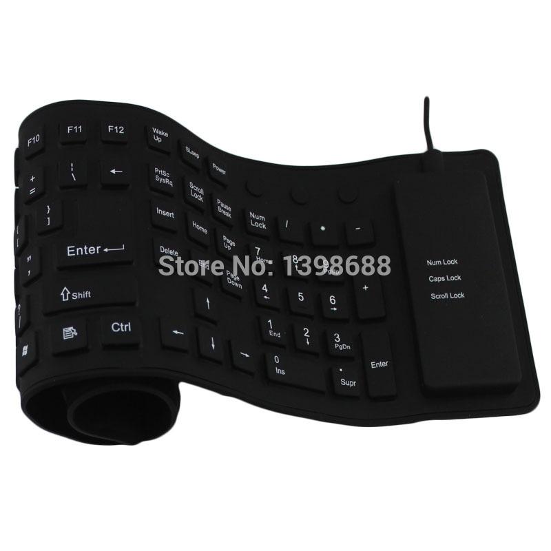2014 USB 2.0 Flexible Foldable Silicone 1 PC Waterproof Washable Anti Shock Mute Portable Keyboard 109 Keys Free Shipping DHL(China (Mainland))