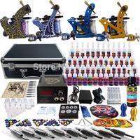 Wholesale - Complete Tattoo Kit 4 Pro Rotary Machine Guns 54 Inks Power Supply Needle Grips TK453
