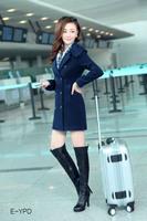 Free shipping 2014 Slim new winter coat women slim long woolen coat lady thick coat windbreaker blue and white M,L,XL,XXL 8205