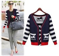Miranda Kerr Plus Size XL,2XL,3XL,4XL Women Fashion Horse V Collar Striped Long Sleeve Cardigan Sweater Free Shipping 8216