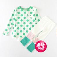 2014 autumn children's clothing big dot skirt ploughboys girls clothing child skirt set free shipping