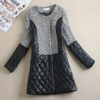 Free shipping 2014 women patchwork long-sleeve woolen outerwear o-neck slim woolen overcoat female medium-long overcoat