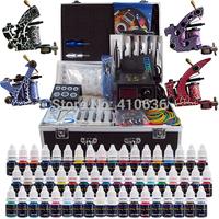 Wholesale - Complete Tattoo Kit 4 Pro Rotary Machine Guns 54 Inks Power Supply Needle Grips TK456
