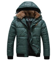 Men winter jacket xxl casual new 2014 parkas fur hooded jacket for men outdoors snow jacket men's winter warm trench coat D454