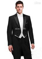 Black Tailcoat Groom Tuxedos Best Man Peak Satin Lapel Groomsmen Men Wedding Suits Bridegroom (Jacket+Pants+Tie+