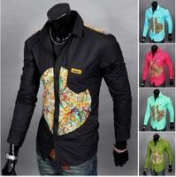 2014 New Brand Fashion Men's Chest Print  Shirt Full Sleeve Single Casual Shirts M-XXL 5 Colors Free shipping