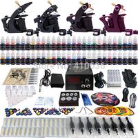 Wholesale - Complete Tattoo Kit 4 Pro Rotary Machine Guns 54 Inks Power Supply Needle Grips TK457