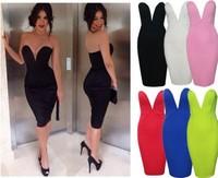 2014 New Women Summer Sexy Deep V Strapless Dress Bustier Slim Pencil Bondage Dresses Clubwear Party Bodycon Dress Vestidos 2458