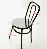 Little Black Metal Chair Stool 1:12 Dollhouse Miniature Toy Gift for boy girl children kids BJD monster high