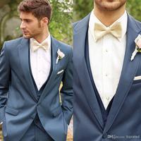 0Modern Custom made Bow Classic Gray Satin Groom Tuxedos Men Suits Set jacket Coat Pants Gun Collar Excluding Shirts