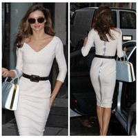 New 2014 Victoria Beckham Sexy Bodycon Dress White Girl Elegant Long Sleeve Plus Size XL 2XL Party Dress Women Vestido Casual