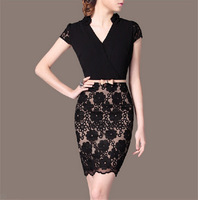 Women Lace Patchwork Vintage OL Casual Dress Long Sleeve Novelty Women Work Wear Vestidos Lace slim dress  AY851865