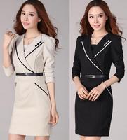 Free shipping Autumn/Winter 2014 women Long Sleeve dress Plus Size S-XXL Button Elegant Knee-Length Bodycon Formal Pencil Dress