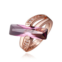 Free shipping Fashion Classic Purple Stone Rings 18k Rose Gold Filled Rings For Women Lady's Jewelry Free Shipping