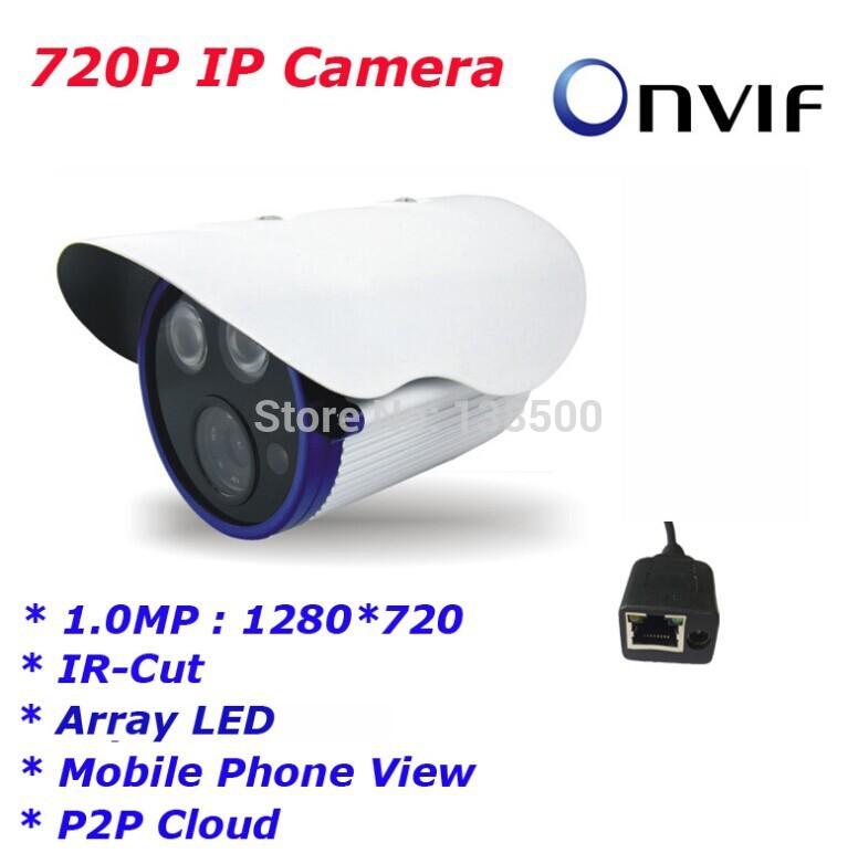 Free Shipping Wholesale Waterproof Array IR Led 1.0MP HD 720P Onvif CCTV Security Network IP Camera(China (Mainland))