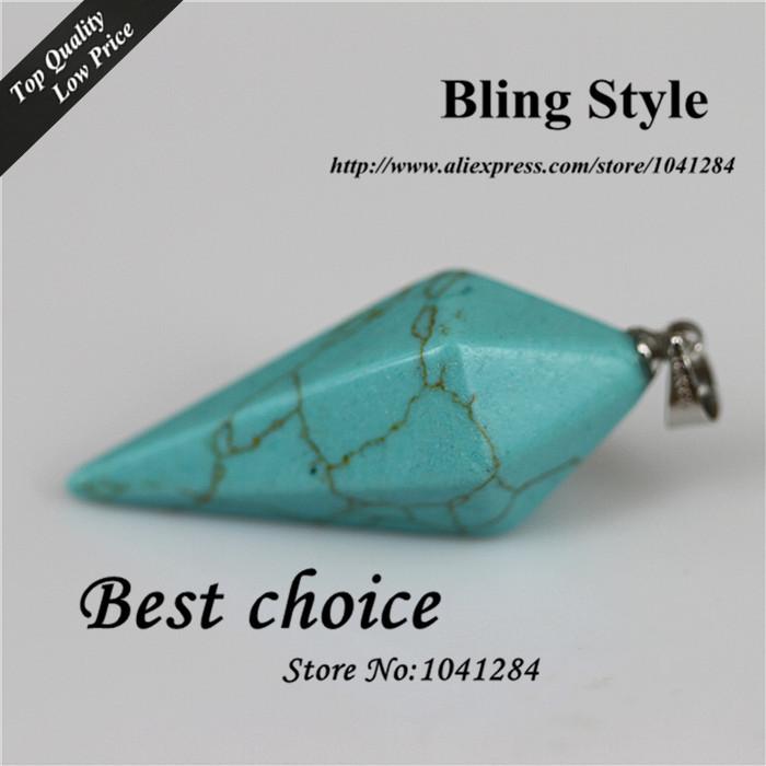 wholesale 20Pcs Charm Turquoise Drusy Stone Hexagonal pyramid Agate Druzy Stone Beads Pendant Jewelry For Necklace(China (Mainland))