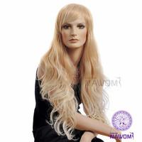 Hot sale Free shipping kanekalon long wavy bright blond wigs for women D3252