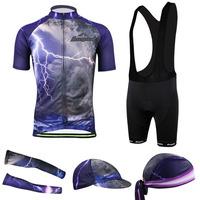 2014 Mens Lightning style Cycling Jersey Short Sleeve With bib shorts cuff/hat/cap/arm warmer Full set CC2014