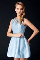 Free shipping 2014 Autuman woman cute elegant A line diamonds dress