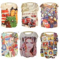Loral New 3D fashion t shirt women cartoon Hot Air Balloon flag bus printed tshirt short sleeve  women's top tees