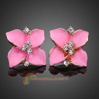 R1B1 Fashion Luxury Ladies Pink Oil Drip Rhinestone Flower Ear Studs Earrings