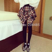 Women's Korean Style False Two Pieces Leggings with Plaid Skirt